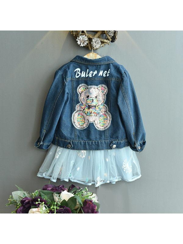 【18M-7Y】Girls Fashion Casual Sequined Bear Denim Jacket