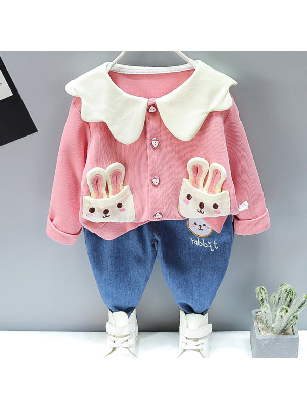 【12M-5Y】Girl Sweet Rabbit Pattern Cardigan Jeans Set