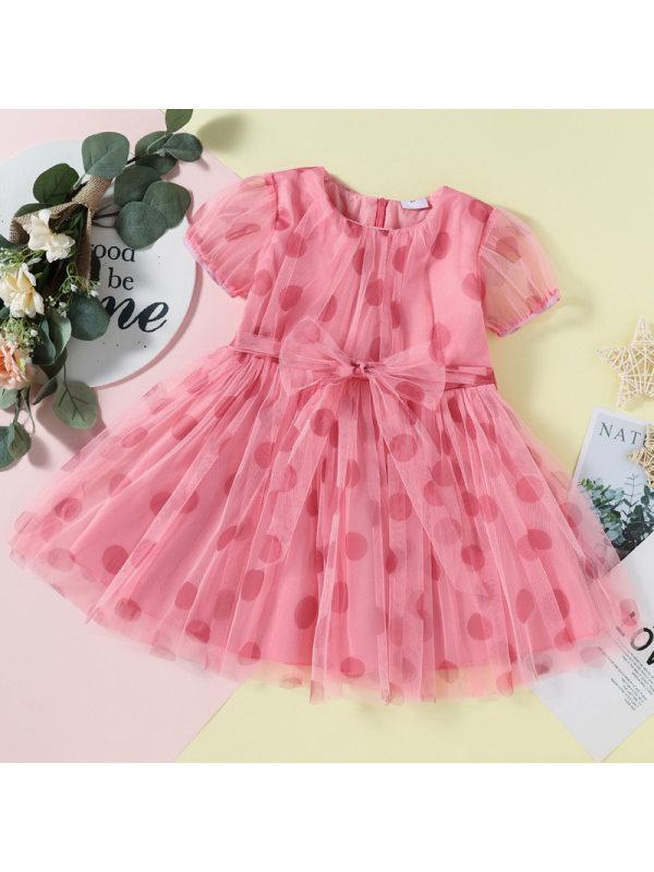 【18M-7Y】Girls Polka Dot Bowknot Layered Tulle Dress