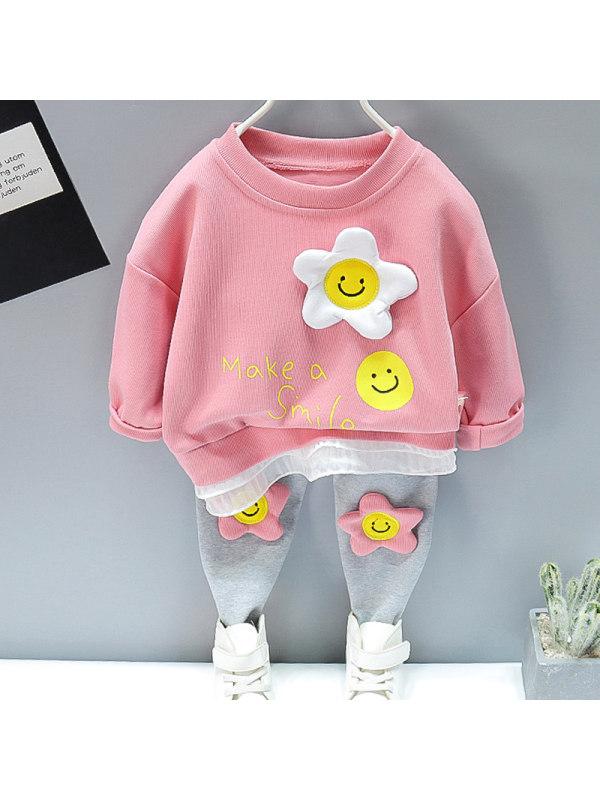 【12M-5Y】Girls Sweet Flower Pattern Sweatshirt Pants Set