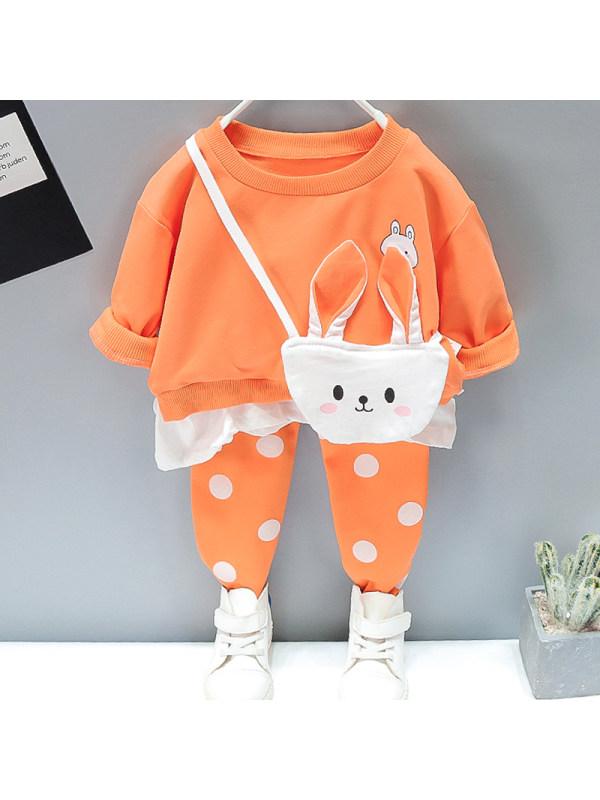 【12M-5Y】Girl Sweet Bunny Sweatshirt Pants Set With Bag