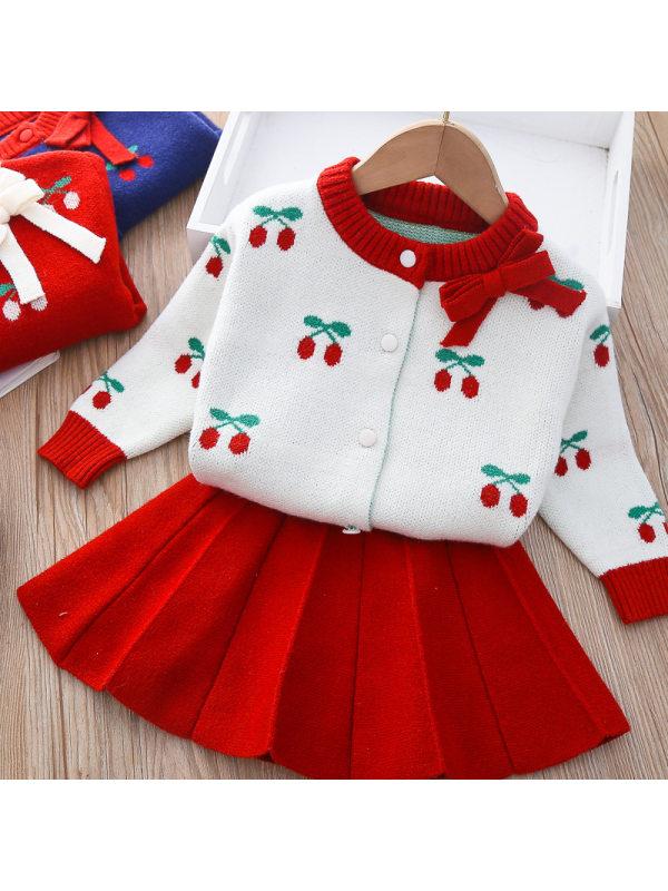 【12M-5Y】Girl Sweet Cherry Pattern Sweater Short Skirt Set