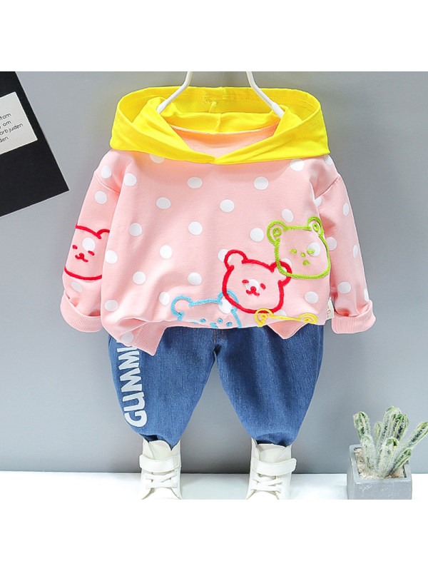 【12M-5Y】Girls Sweet Polka Dot Hooded Sweatshirt Jeans Set