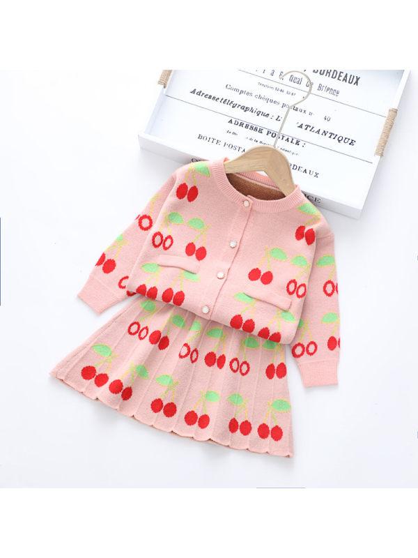 【18M-7Y】Girls Jacquard Cartoon Woolen Cardigan Half Skirt Two-piece Suit