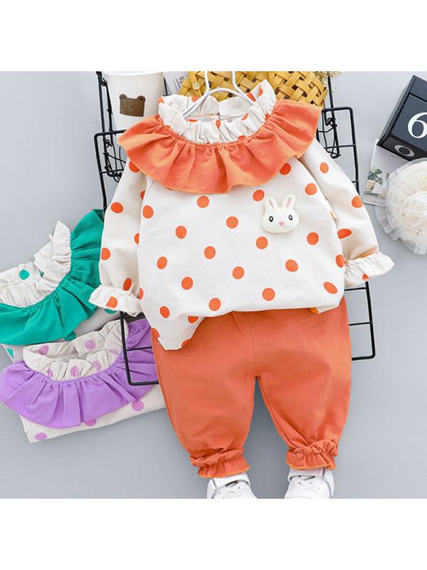 【12M-5Y】Girls Sweet Polka Dot Sweatshirt Pants Set