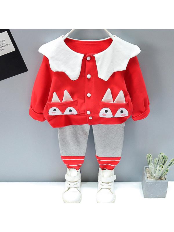 【12M-5Y】Girl Sweet Fox Pattern Cardigan Pants Set