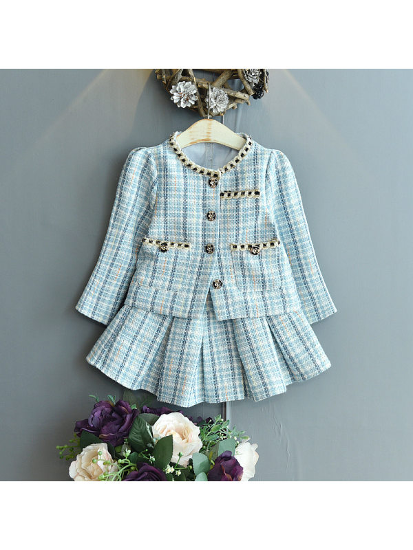 【18M-7Y】Girls Classic Sweet Plaid Jacket And Skirt Suit