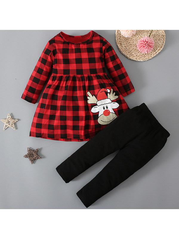 【12M-5Y】Girls Christmas Red Plaid T-shirt Pants Set