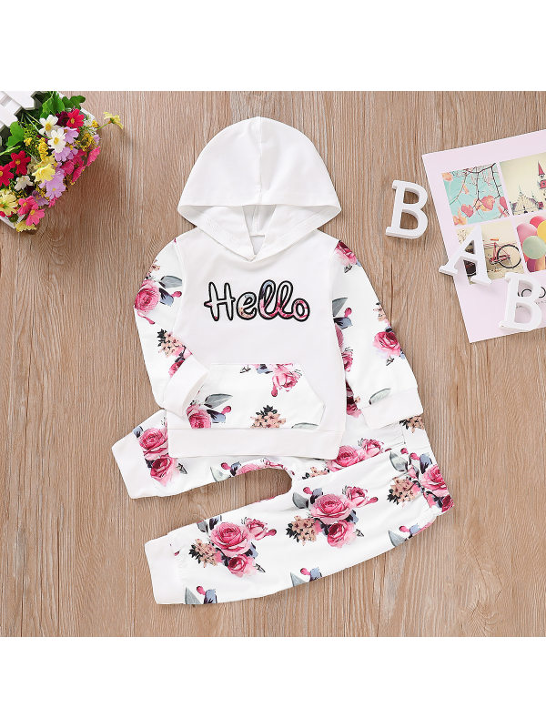【12M-5Y】Girls Letter Rose Flower Long-sleeved Hoodie And Trousers Two-piece Suit