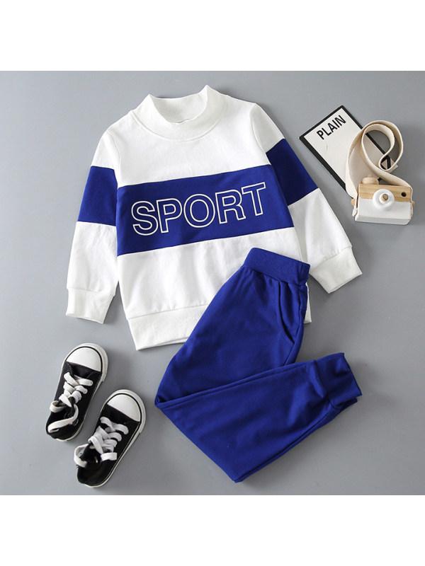 【18M-7Y】Boys Casual Letters Printed Blue Sweatshirt Set