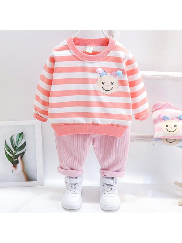 【12M-5Y】Girls Sweet Striped Sweatshirt Pants Set