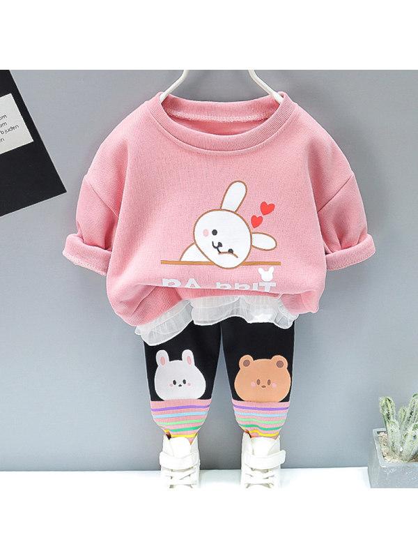 【12M-5Y】Girl Sweet Cartoon Pattern Sweatshirt Pants Set