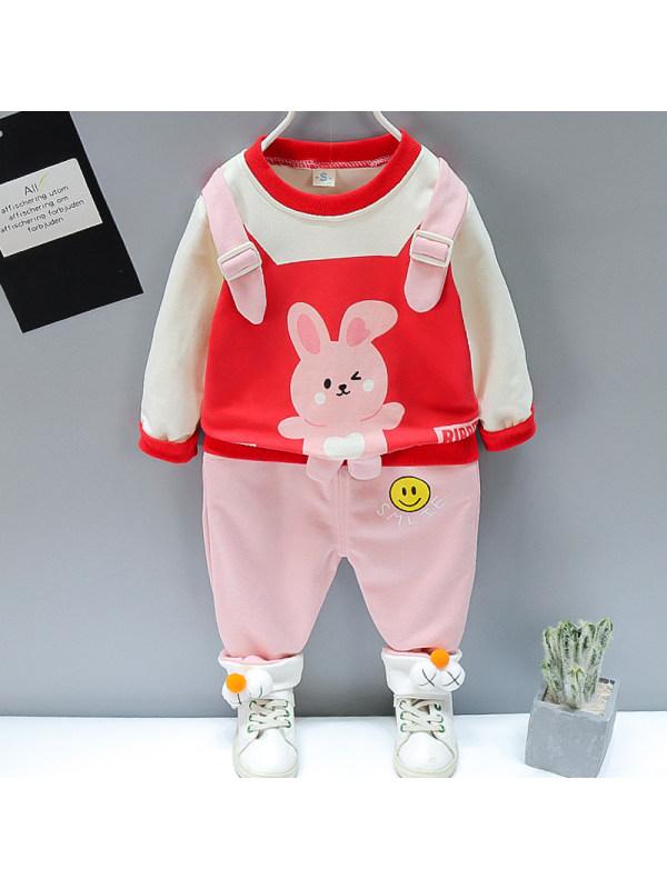 【12M-5Y】Kids Fashion Cartoon Pattern Sweatshirt Pants Set