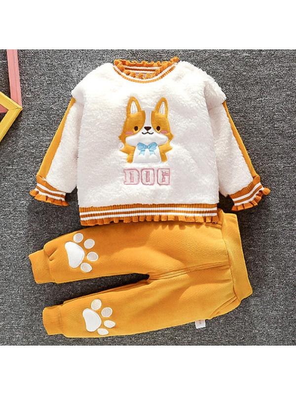 【9M-3Y】Baby Cartoon Pattern Thickened Sweatshirt Pants Set