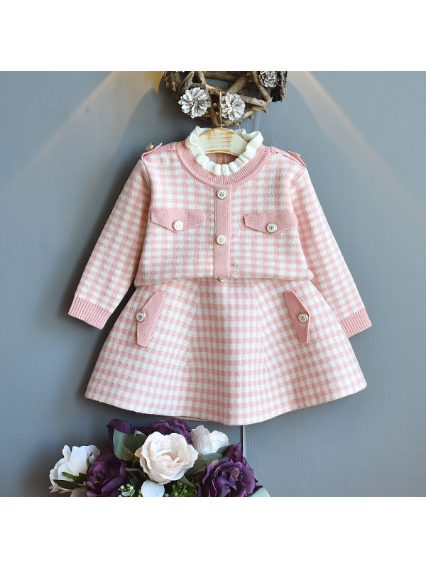 【18M-7Y】Girls Plaid Ruffle Top And Half Skirt Sweater Set