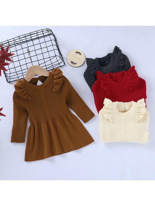 【6M-3Y】Girl Ruffled Long Sleeve Knitted Dress