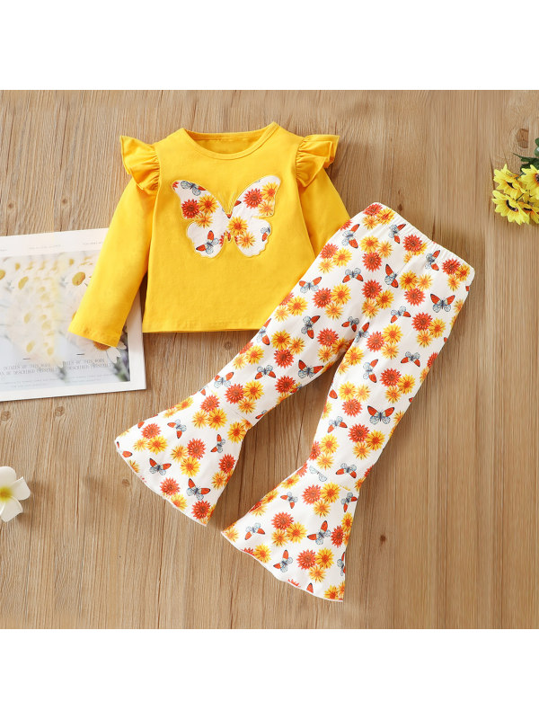 【18M-6Y】Girl Butterfly Long Sleeve T-Shirt Floral Pants Set
