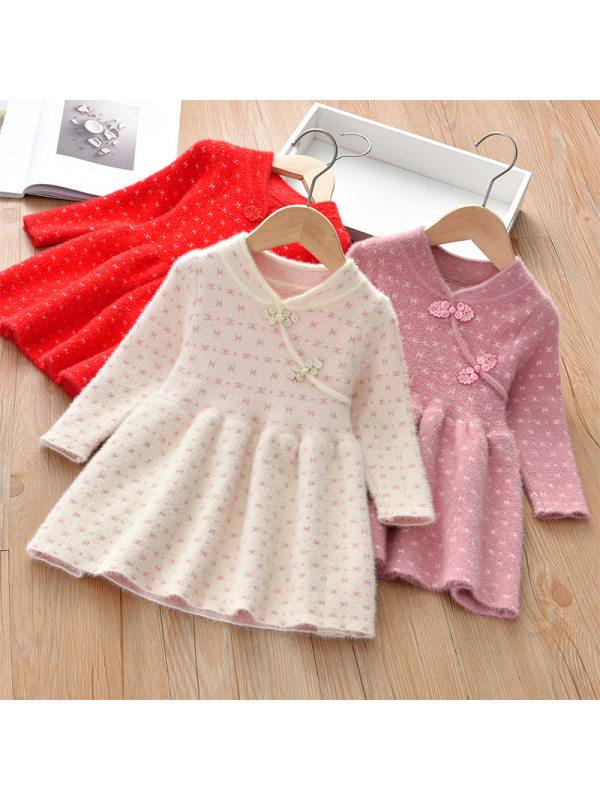 【18M-7Y】Girl Sweet Long Sleeve Woolen Dress