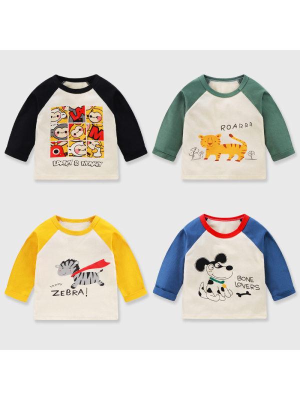 【12M-7Y】Kids Cartoon Print Long-sleeved T-shirt