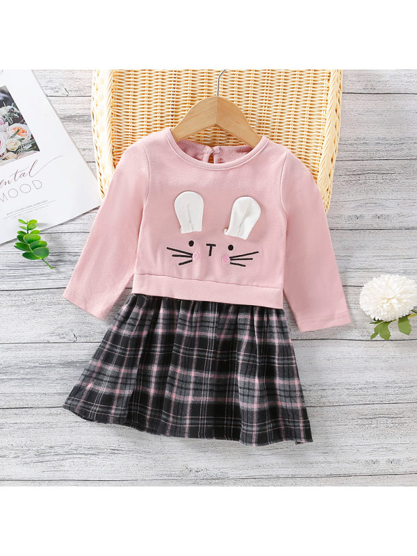 【12M-5Y】Girls Cute Little Ears Plaid Sweateshirt Dress
