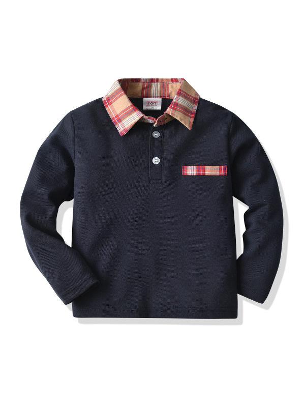 【18M-7Y】Boys Long Sleeve Lapel Polo Shirt