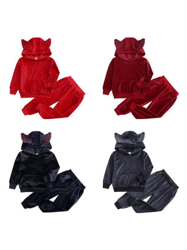 【12M-9Y】Boys Velvet Hoodie And Trousers Two-piece Suit
