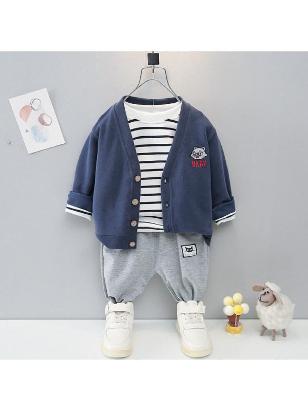 【9M-3Y】Boys Knitted Cardigan Long Sleeve Striped Tee Pants Three Piece Set