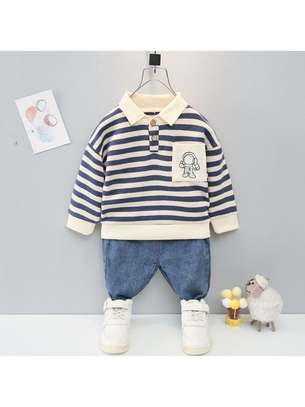 【9M-4Y】Boys Striped Long-sleeved Top And Pants Two-piece Suit