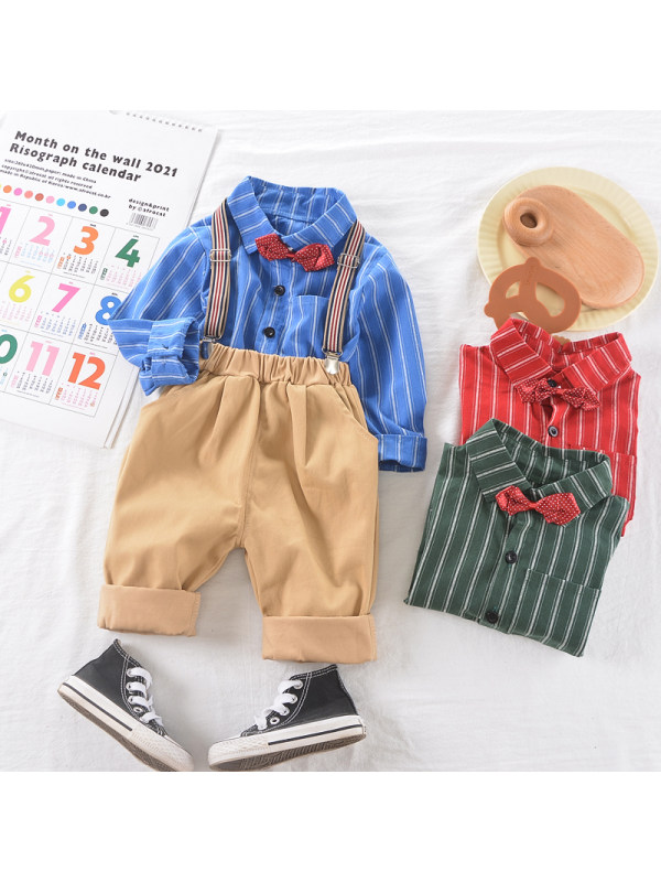 【9M-3Y】Boys Long-sleeved Striped Shirt And Bib Two-piece Suit