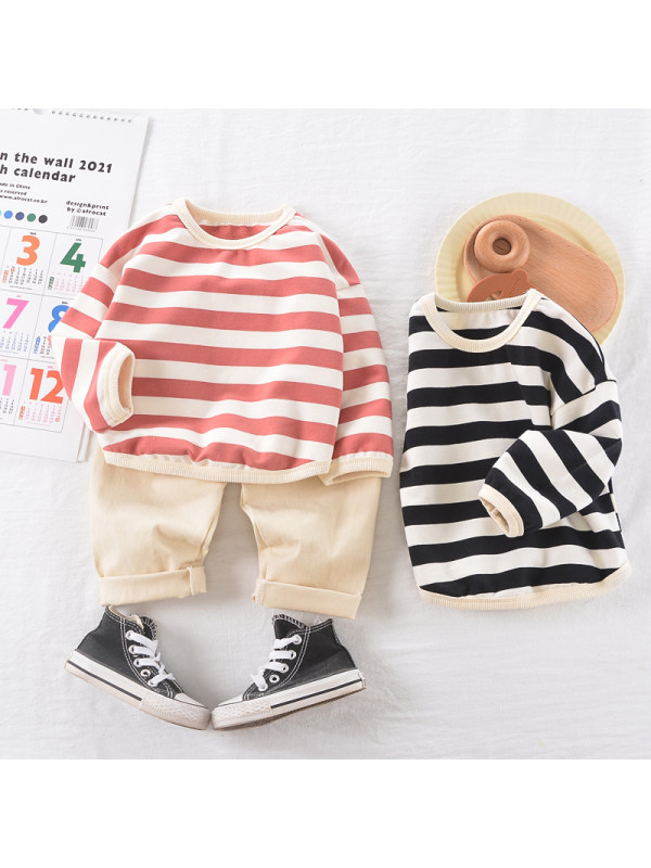 【9M-3Y】Boys Long-sleeved Striped Shirt And Pants Two-piece Suit