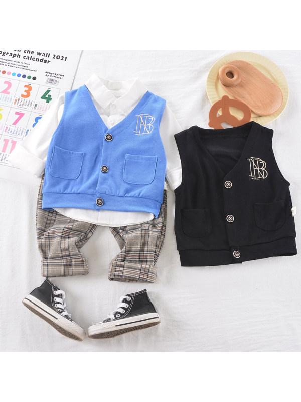 【9M-3Y】Boys Vest Shirt Pants Three Piece Set