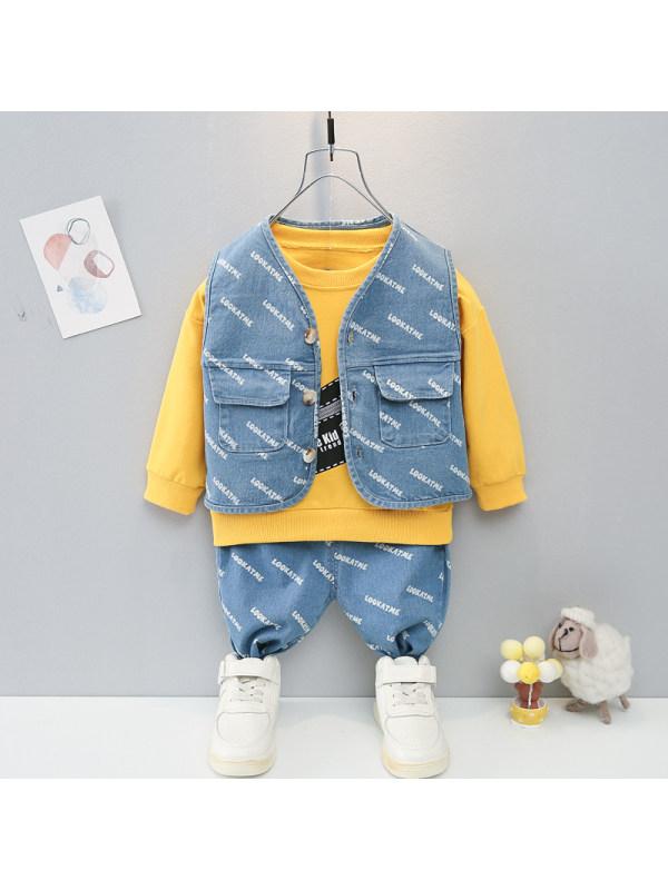 【9M-4Y】Boys Letter Printed Denim Vest And Trousers Sweatshirt  three-piece Suit