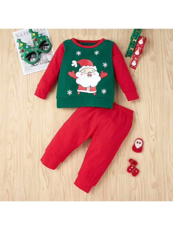 【6M-3Y】Baby Christmas Printed Long Sleeve Sweatshirt Set