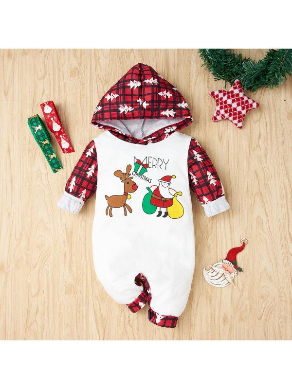 【6M-3Y】Baby Red Plaid Christmas Print Splicing Long Sleeve Romper