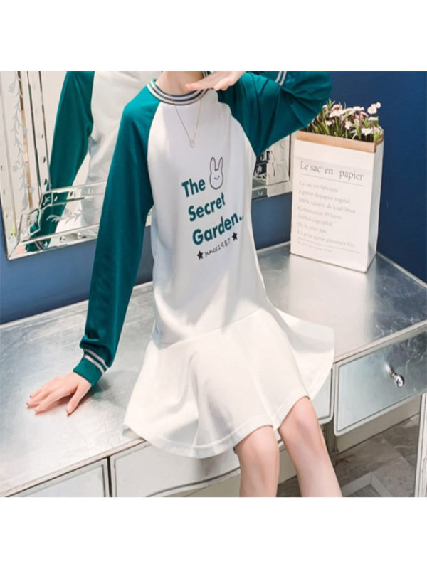 【3Y-13Y】Girls Round Neck Letter Prints Long Sleeve Dress