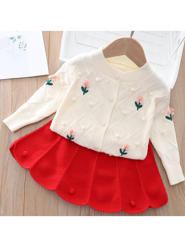 【12M-5Y】Girls Sweet Jacquard Round Neck Top And Skirt Set