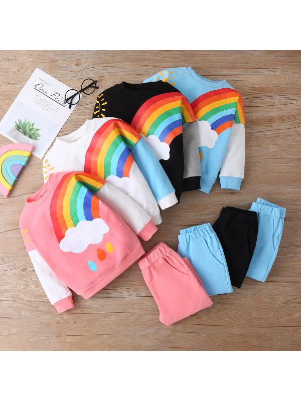 【18M-6Y】Kids Rainbow Long Sleeve Sweatshirt Pants Set