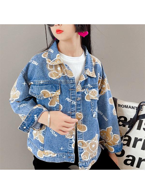 【3Y-13Y】Girls Bear Print Blue Denim Jacket