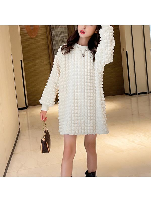 【3Y-13Y】Girls Round Neck Long Sleeve Sweatshirt Dress