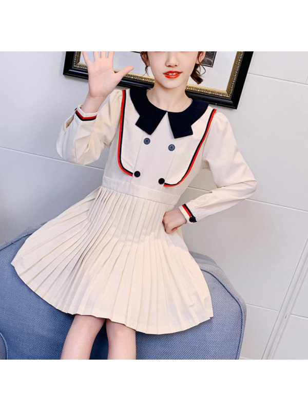 【3Y-13Y】Girls College Style Lapel Long Sleeve Pleated Dress