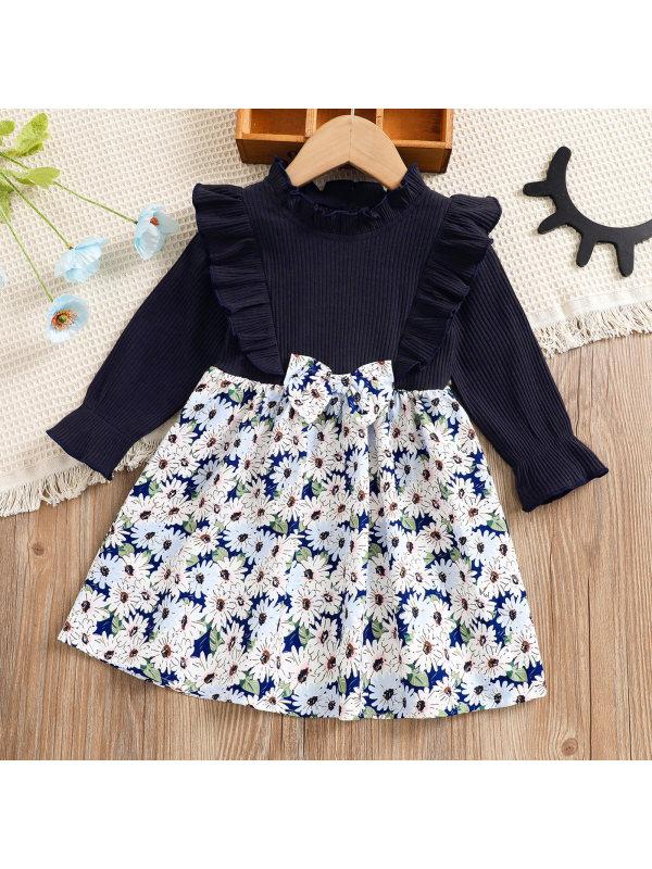 【18M-7Y】Girl Sweet Flower Print Long Sleeve Dress