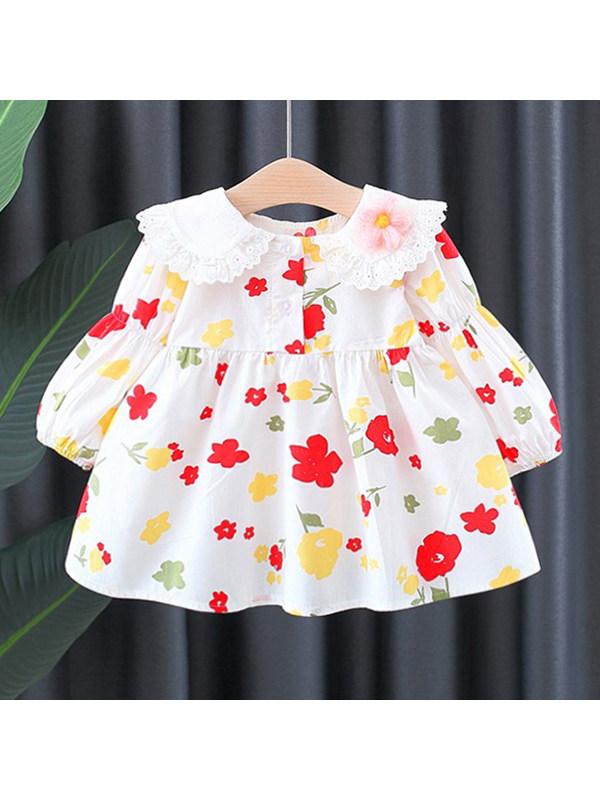 【12M-4Y】Girls Doll Collar Printed Dress