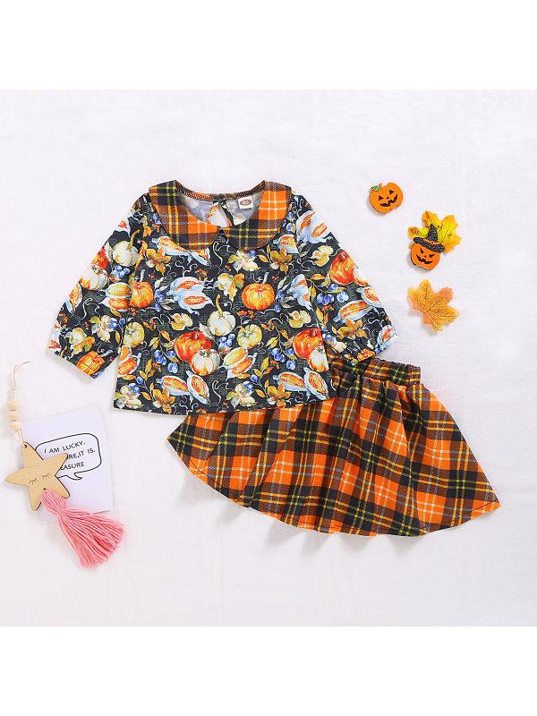 【12M-5Y】Girls Long Sleeve Pumpkin Print Top And Plaid Skirt