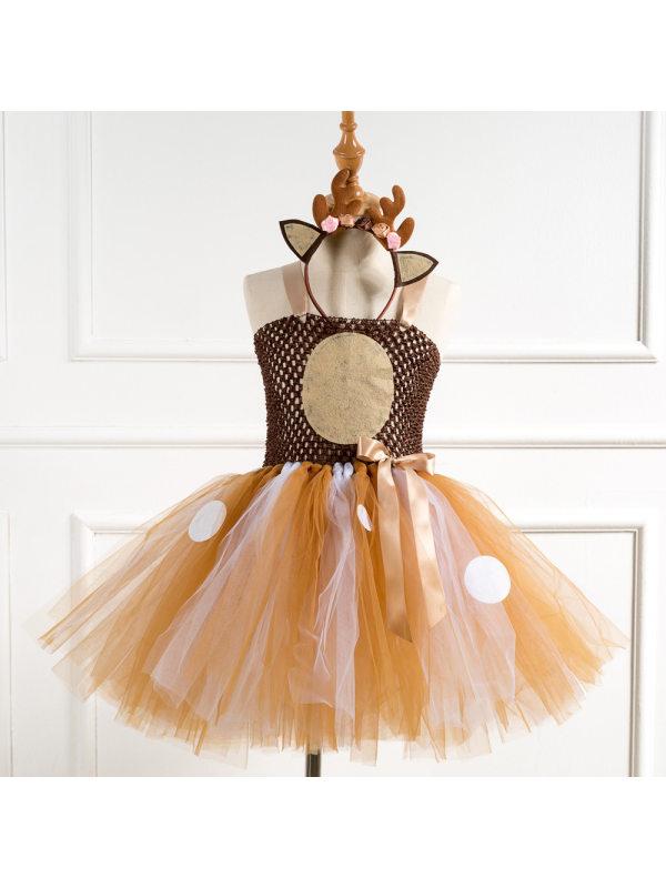 【2Y-11Y】Girls Christmas Net Gauze Tutu Skirt With Send Elk Headband