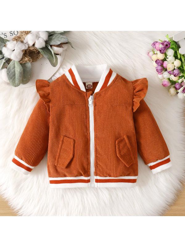 【3M-24M】Girl Round Neck Cotton Flying Sleeves Jacket Coat