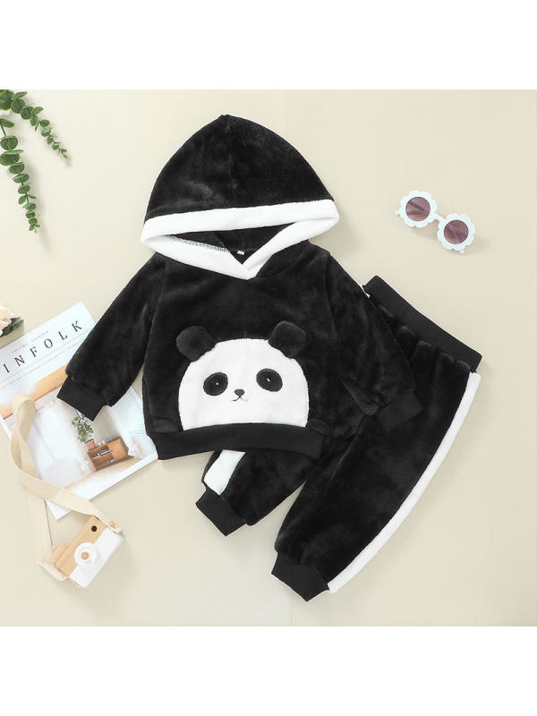 【3M-24M】Kid Cartoon Panda Casual Sweatshirt Suit
