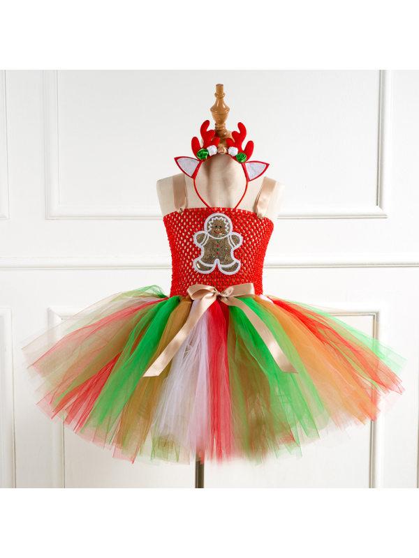 【2Y-11Y】Girl Christmas Galaxy Tutu Dress With Headband