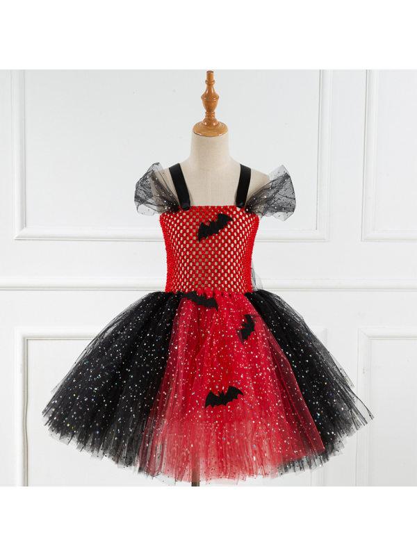 【2Y-11Y】Girls Halloween Little Sequins Cartoon Bat Performance Costume