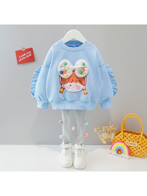 【9M-4Y】Girls Cartoon Print Colored Balls Bowknot Sweatshirt And Pants Set