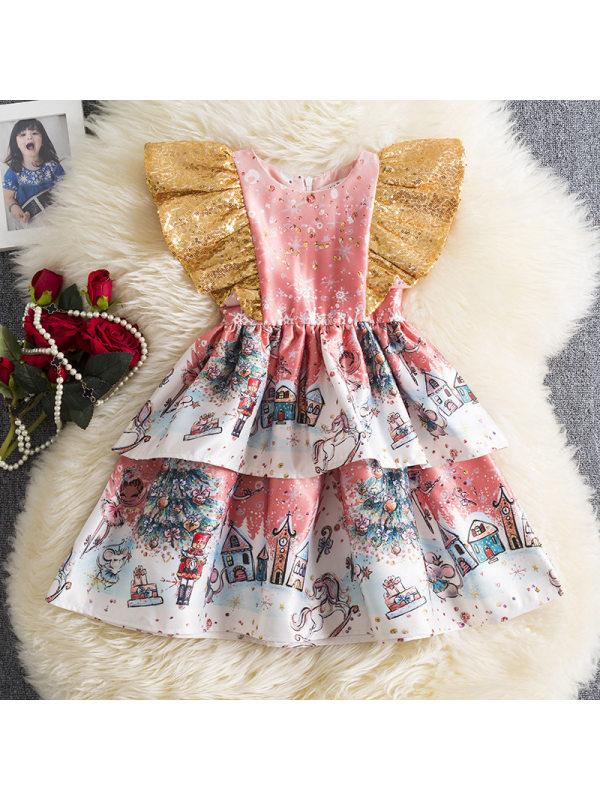 【12M-5Y】Girls Christmas Print Ruffle Layered Dress